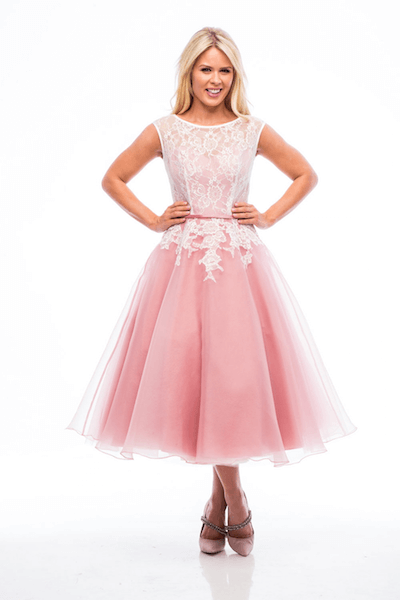 Vintage trouwjurk roze